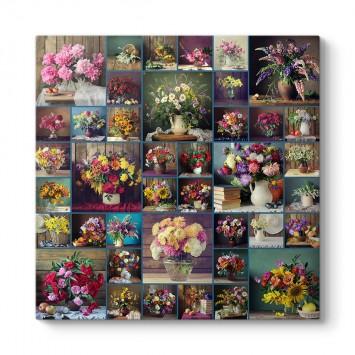 Vazoda Çiçekler Kolaj Tablosu