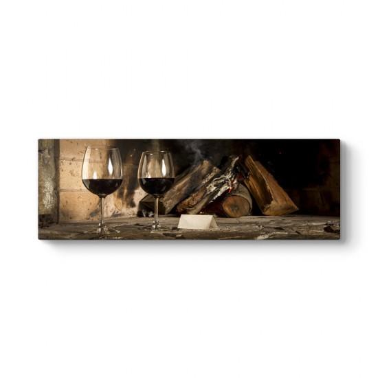 Şarap ve Şömine Panorama Tablo
