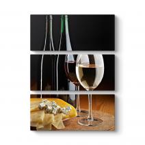 Beyaz Şarap ve Kaşar Peynir Tablosu